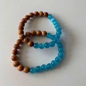 Blue opal and wood diffuser bracelet